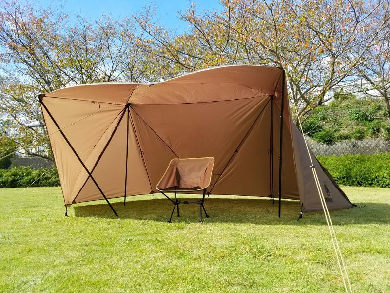OneTigrisのブッシュクラフトテントで煙幕テント